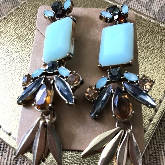 J. Crew Factory Jewelry - 💝EUC AquaBronze leaves Crystal Earrings❣️